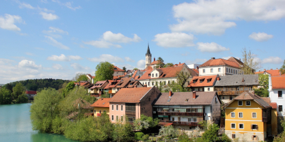 The city of Novo Mesto on a beautiful sunny day