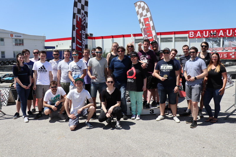 Agiledrop team group photo at Ljubljana Karting Center
