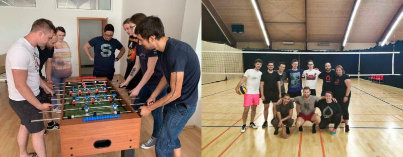 Agiledrop's Maribor office playing table football & volleyball