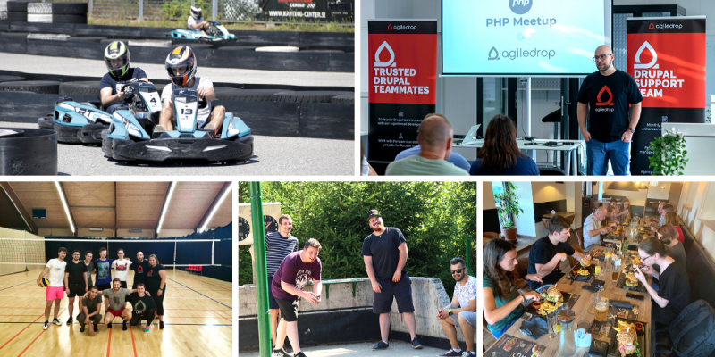 Collage of snapshots from Agiledrop team activities