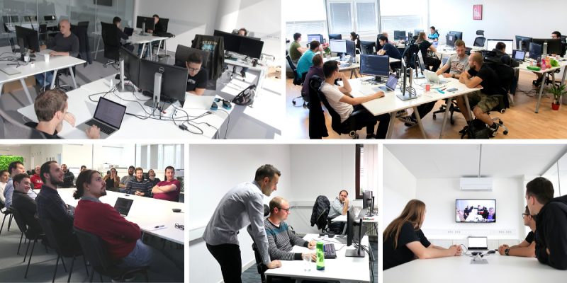 Collage of snapshots from different Agiledrop offices