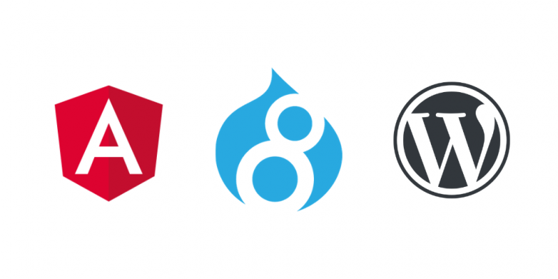 Logos of Angular, Drupal and WordPress
